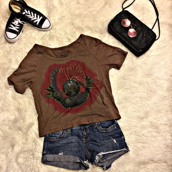 3c88600d06f Live Nation Tops   Journey Band Tee Brown Short Sleeve Crop Top ...